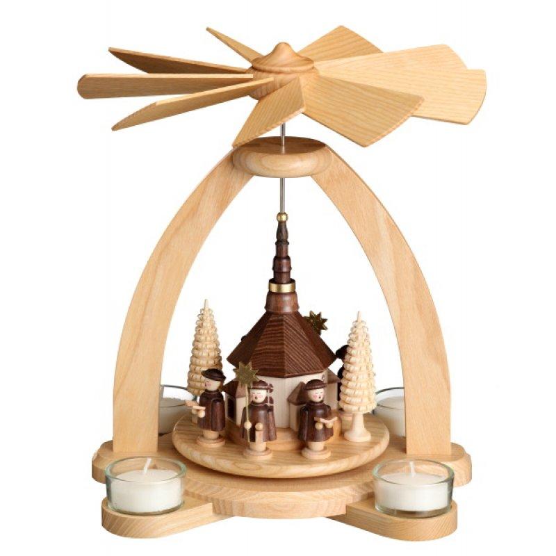 unger tischpyramide kurrende seiffener kirche f r teelichte holzkunst aus dem erzgebirge. Black Bedroom Furniture Sets. Home Design Ideas