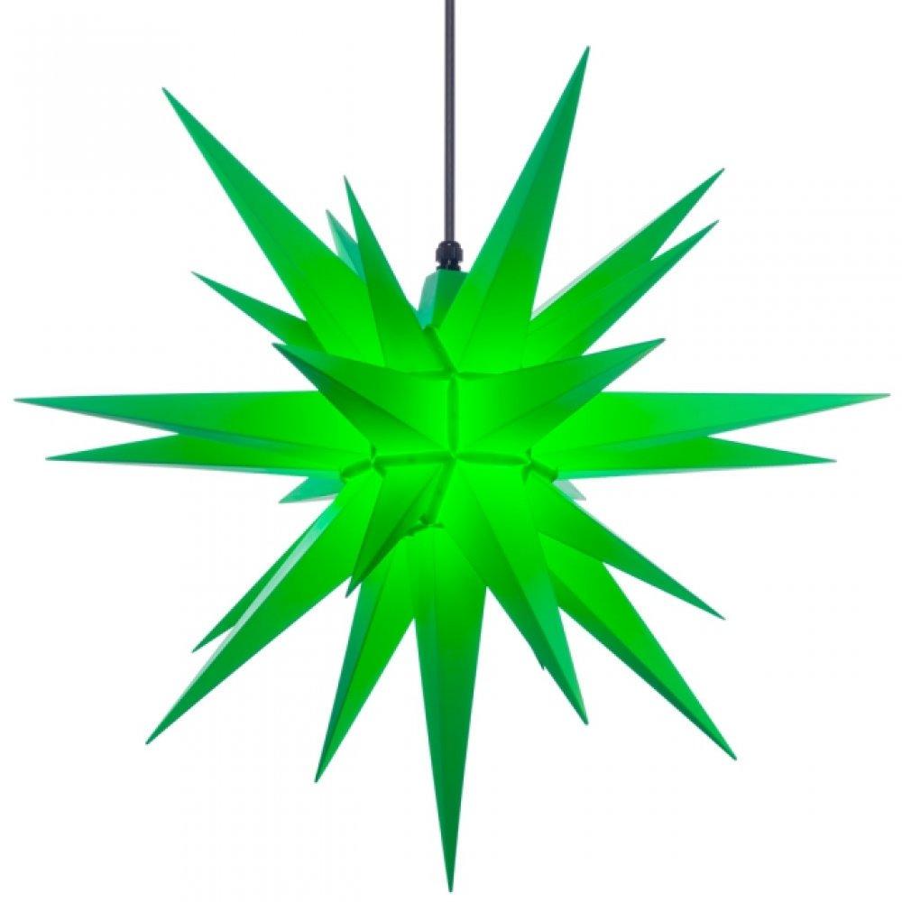 herrnhuter weihnachtsstern a7 gr n aus kunststoff mit beleuchtung holzkunst aus dem erzgebirge. Black Bedroom Furniture Sets. Home Design Ideas
