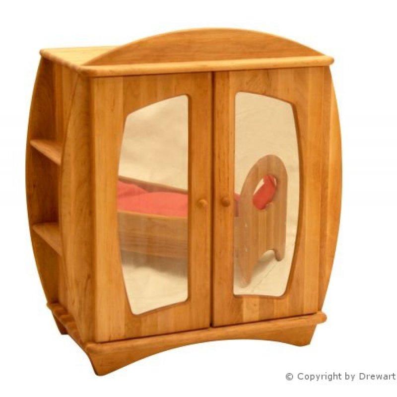 puppenm bel holzschrank mit spiegel aus holz von drewart holzkunst aus dem erzgebirge 100. Black Bedroom Furniture Sets. Home Design Ideas