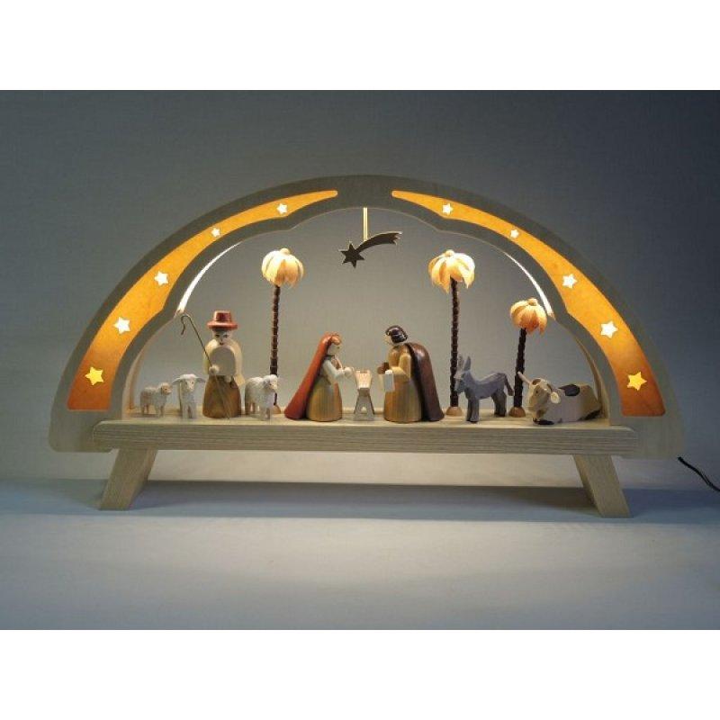 richard gl sser led schwibbogen christi geburt holzkunst aus dem erzgebirge 100 original. Black Bedroom Furniture Sets. Home Design Ideas