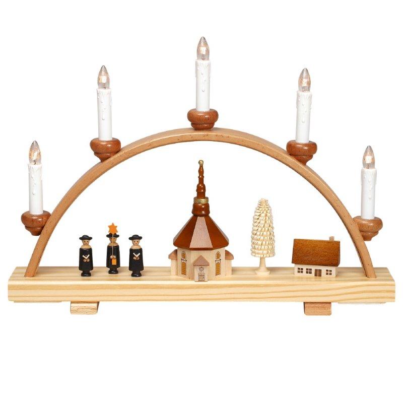 schwibbogen seiffener kirche mit kurrende klein von zeidler holzkunst aus dem erzgebirge 100. Black Bedroom Furniture Sets. Home Design Ideas