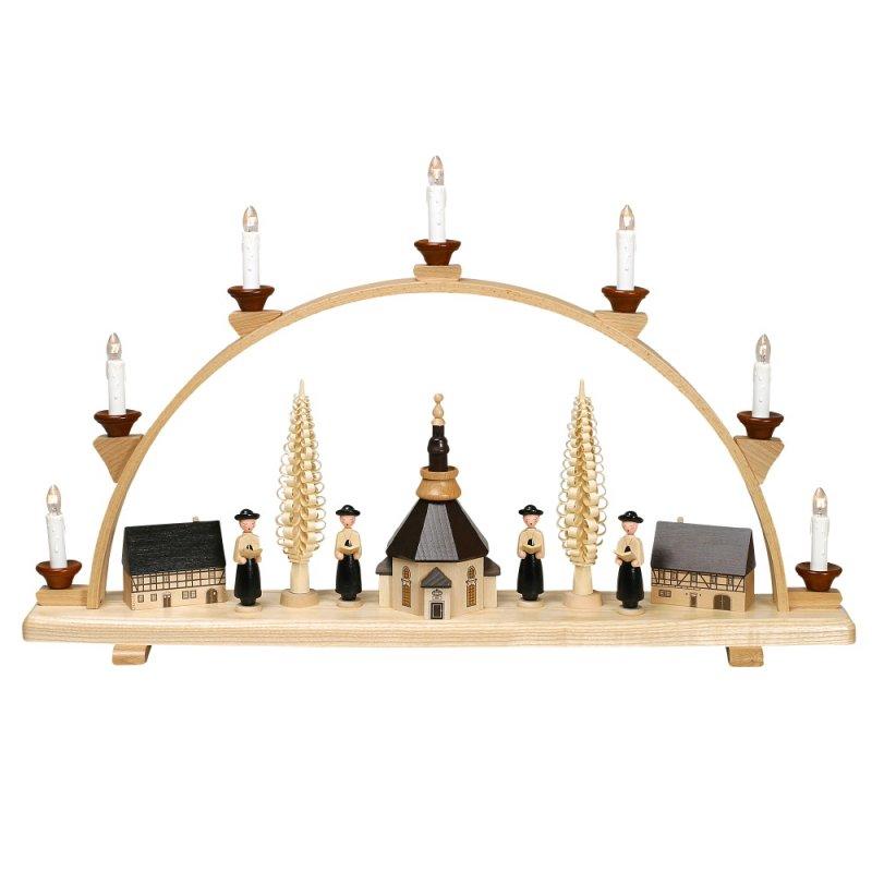 schwibbogen mit seiffener kirche und kurrende gro von zeidler holzkunst aus dem erzgebirge. Black Bedroom Furniture Sets. Home Design Ideas