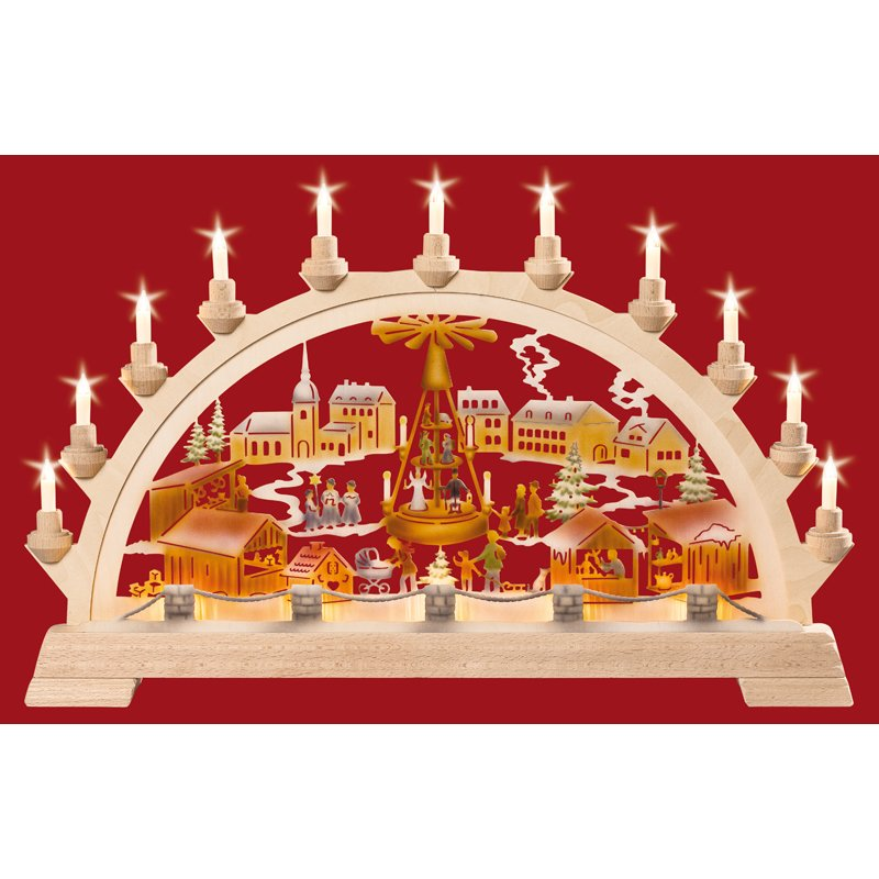 Taulin candle arch christmas market with pyramid colored for Arch candle christmas decoration