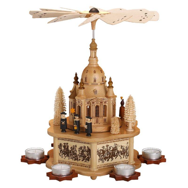 weihnachtspyramide mit desdener frauenkirche von zeidler holzkunst aus dem erzgebirge 100. Black Bedroom Furniture Sets. Home Design Ideas