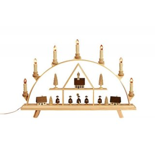 Baumann candle arch seed box with carolers