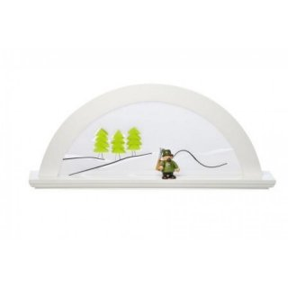 KWO candle arch alder white with glass green fir