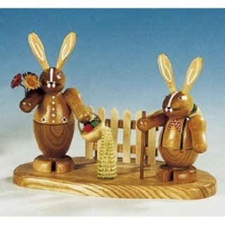 Knuth Neuber rabbit couple on base big nature