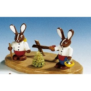 Knuth Neuber rabbit couple on base small colored