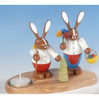 Knuth Neuber rabbit couple on base with tealight big