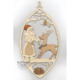 Kuhnert window picture Santa Claus with reindeer