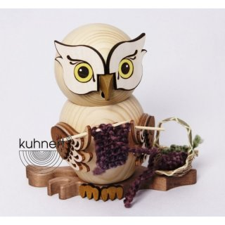 Kuhnert incense figure owl knitting owl