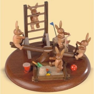 Müller music box  motif plate rabbit playground