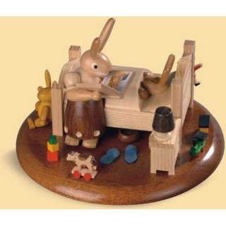 Müller music box motif plate rabbit bed