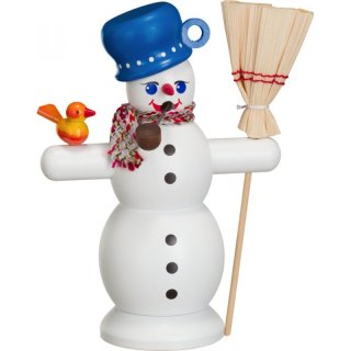 Smoker snowman with blue pan
