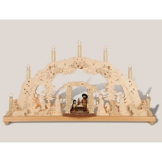 Rauta double candle arch with nativity