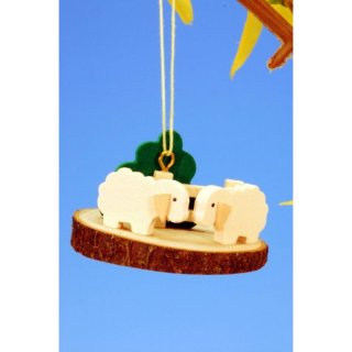 Sheep on tree slice