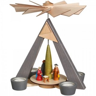 Schalling tealight pyramid Christi nativity grey
