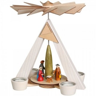 Schalling tealight pyramid Christi nativity white