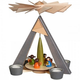 Schalling tealight pyramid grey with angels