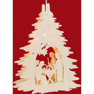Taulin window picture christi nativity under the tree