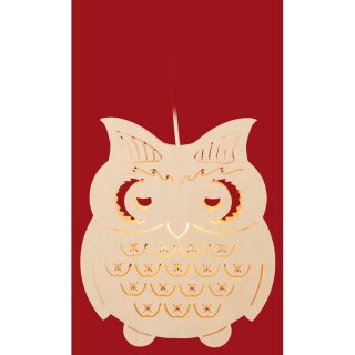 Taulin window picture owl crystals - electric illuminated
