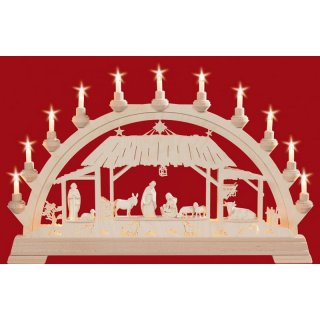 Taulin candle arch Christi nativity with figures pickled