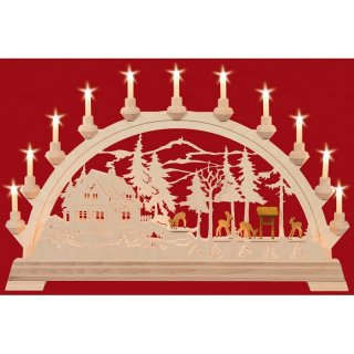 Taulin candle arch ranger house with carved deers