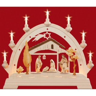 Taulin round arch Christi nativity brown, pickled
