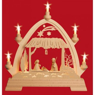 Taulin round arch stable Holy Family modern - with front...