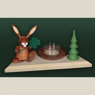 Tietze tealight holder rabbit with cloverleaf