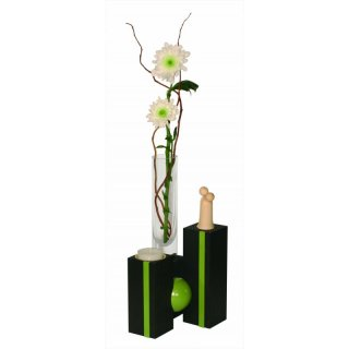 Ulmik ball vase with tealight holder black green