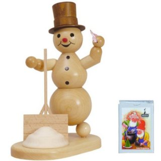 Wagner smoking snowman with shovel and cloth