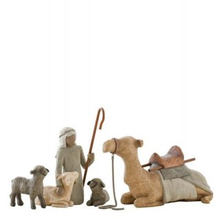 Willow Tree Shepherd & Stable Animals - Hirte mit Herde