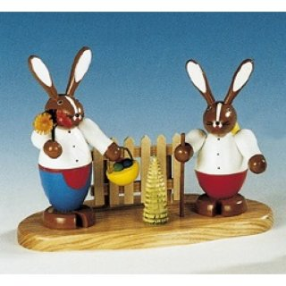 Knuth Neuber rabbit couple on base big colored