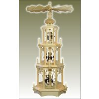 Seidel Christmas pyramid with turned miner figures colored