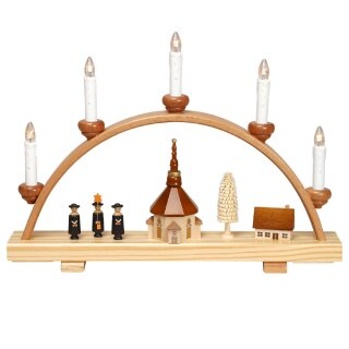 Zeidler candle arch with church and carolers of Seiffen...