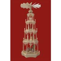 Säulenpyramide Gothik mit colorierten Krippe Figuren...