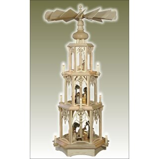 Seidel Christmas pyramid with turned manger figures for 9...