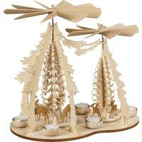 Taulin Pyramide geschnitzt Rehe natur mit 2 Flügeln