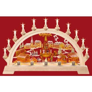 Taulin candle arch Christmas market with pyramid colored