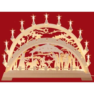 Taulin candle arch Christi nativity with pine