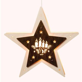 Saico LED window light star with candles