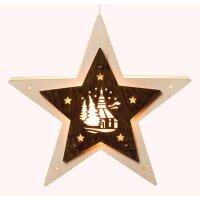Saico Fensterlicht Stern mit Seiffener Kirche