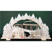 Tietze candle arch Advent snowy with sleigh child and dog