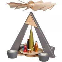 Schalling Teelichtpyramide Christi Geburt grau
