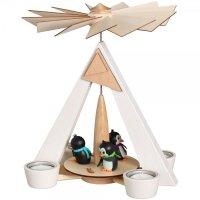 Schalling Teelichtpyramide weiß mit Pinguinen