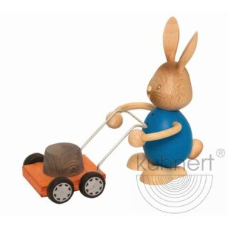 Kuhnert easter bunny Stupsi with mowing machine