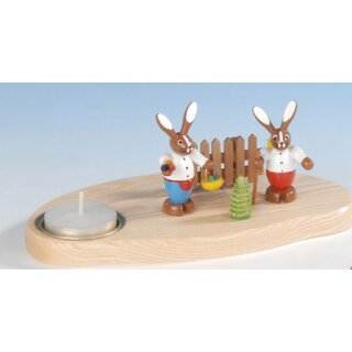Knuth Neuber rabbit couple on base with tealight small