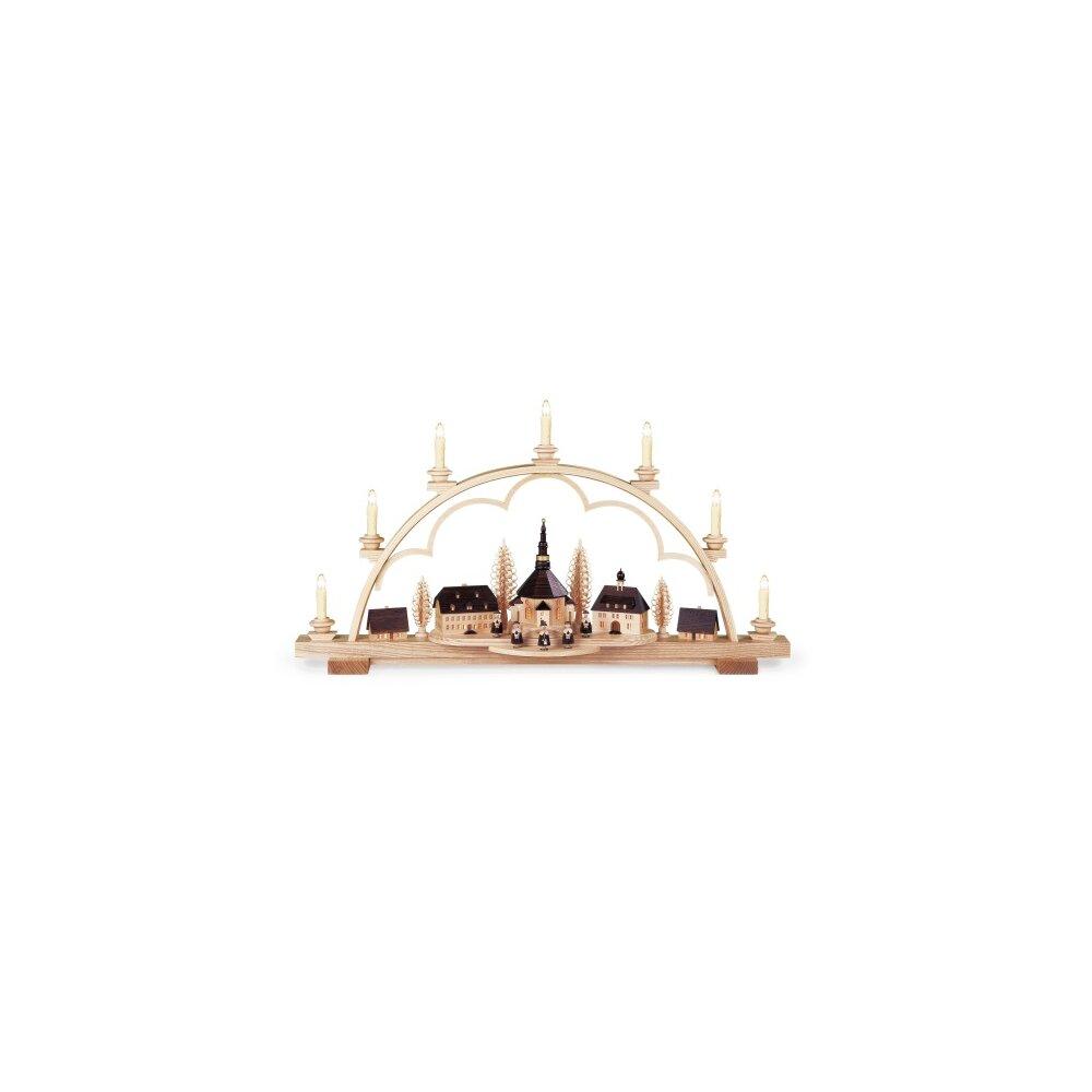 m ller schwibbogen seiffener dorf mit led beleuchtung holzkunst aus dem erzgebirge 100 original. Black Bedroom Furniture Sets. Home Design Ideas