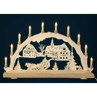 candle arch church with horse sleigh